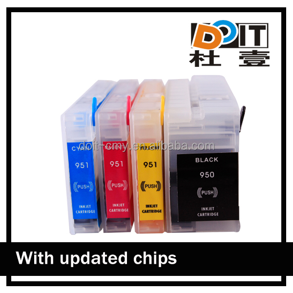 Refillable for hp 950xl black officejet ink cartridge with ARC