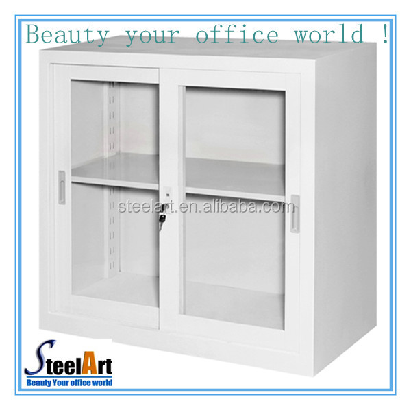 small storage cabinet 2 door metal glass cube cabinet