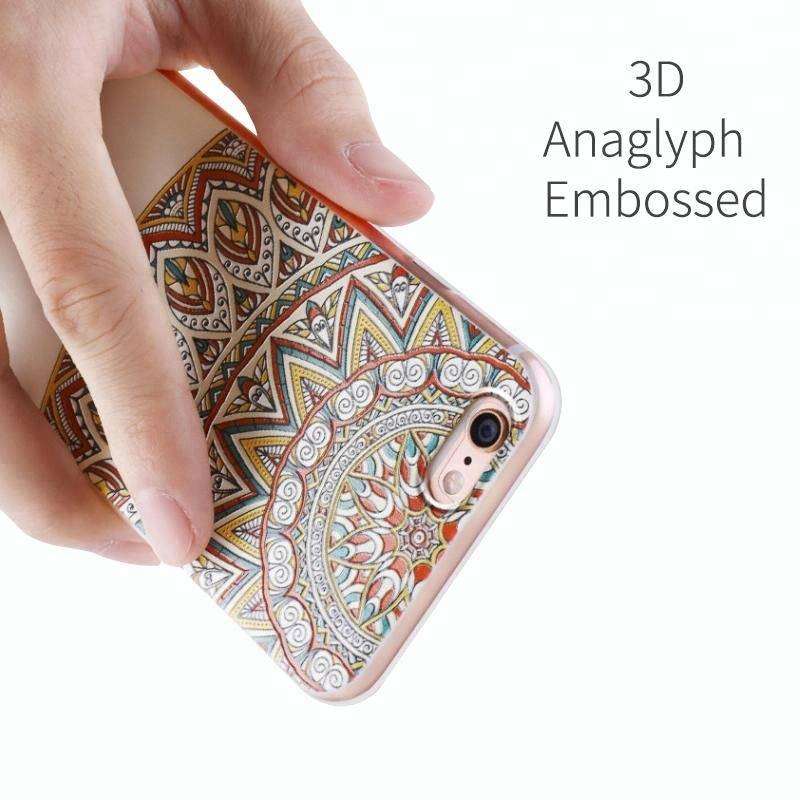 3D Relief Flower Silicone TPU Soft Painted Mobile Phone Case Cover for iPhone 5 5s 6 6s 7 8 Plus