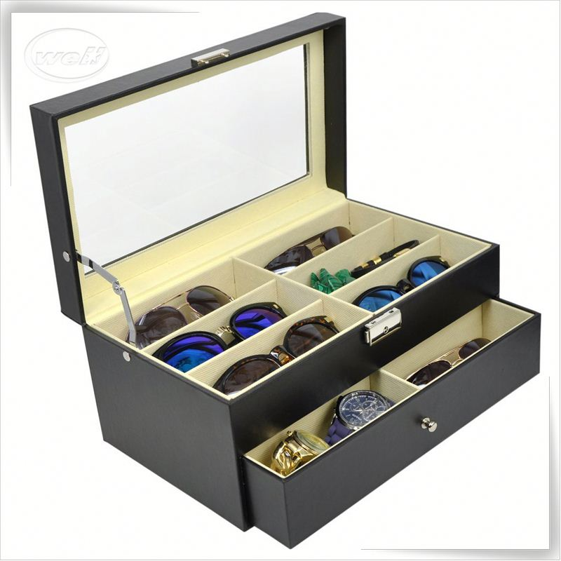 Luxury handmade cumstermized pu leather sunglasses case logo printing