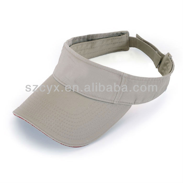 blank grey washed cotton sun visor /visor hat with sandwich