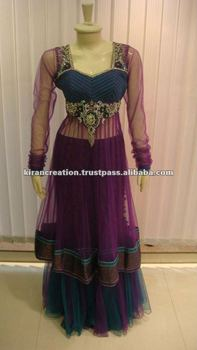 Purple color Frock style bridal salwar suits