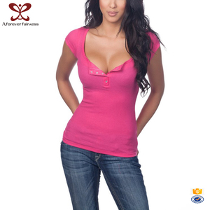 2017 European And American New Fashion Girls Tee Shirt Deep V Neck Girl's Sexy Tight T Shirt
