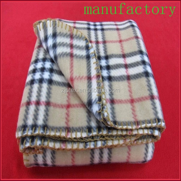 china factory custom 100% polyester check printed plaid polar fleece fabric blanket