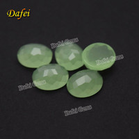 Apple Green Oval Flat Back Synthetic Glass Gems For Ring