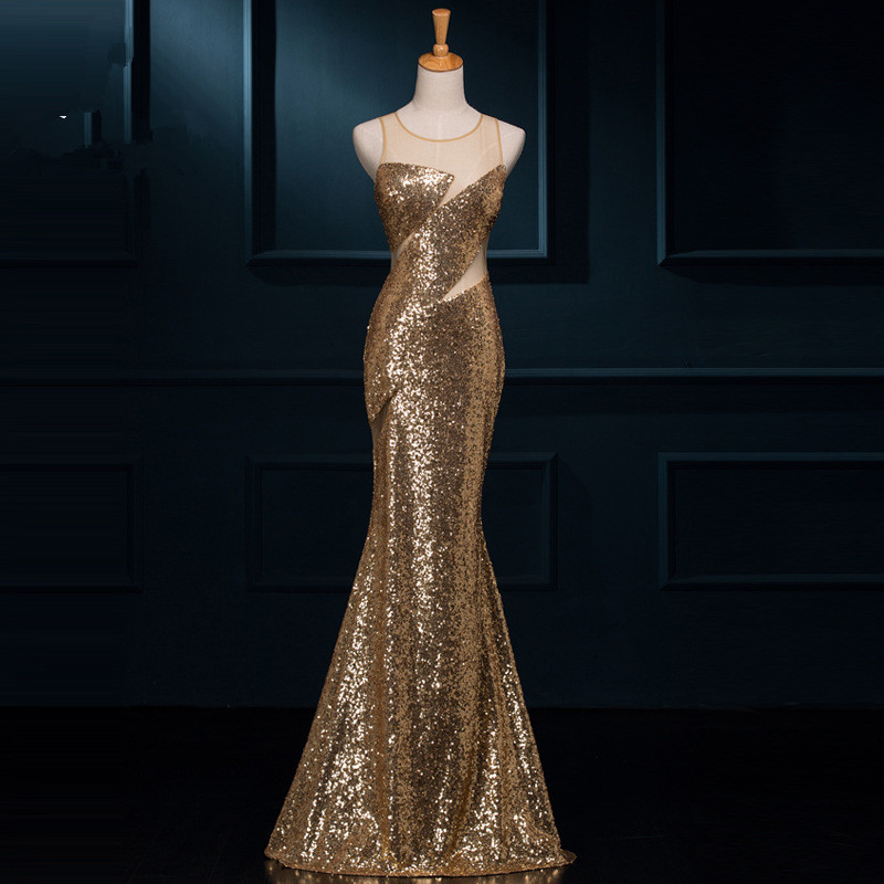 C71551A Gold mermaid night gown evening prom dress party dress for young ladies