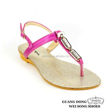 Hot selling summer little wedge rhinestone ornament thong colorful women sandals
