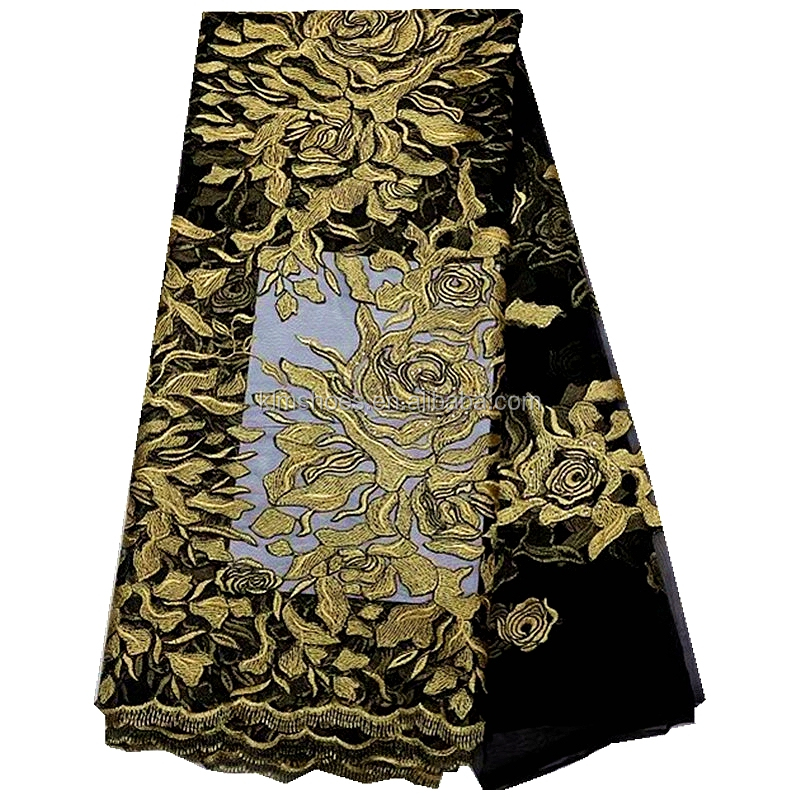 Gold printing embroidered african tulle lace fabric black net lace french organza fabric with rhinestones for nigeria wedding