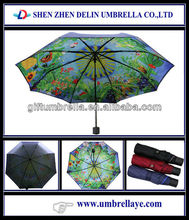 All cheap double layer folding umbrella with printing inside