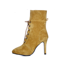 Warm Faux Fur Insole Winter Woman Cowboy Ankle Boots Girls Army Lace Up Fashion Boots