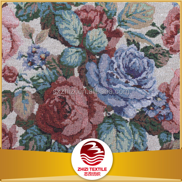 China 70 polyester 30 cotton woven furniture embroidered pattern fabric