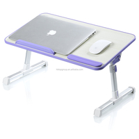 Cheap Wooded Laptop Table Height and Angle Adjustable and Foldable Laptop Bed Desk Strong and Stable 40kgs Loading