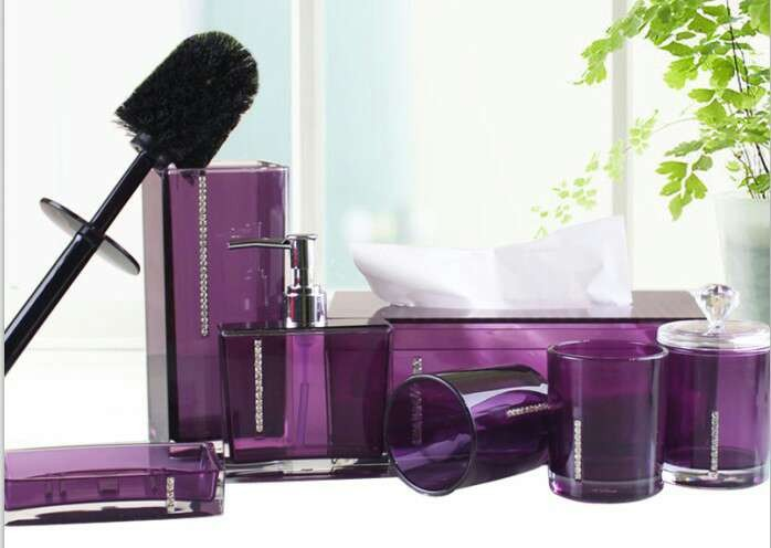 8Pcs/Set Acrylic Bathroom Set Accessories Hand Soap Dish Dispenser Tumbler Toothbrush Holder Bathroom Home Decorate