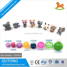 High quality mini plastic christmas animal pokemon toy figurine, cute flock kitten figurine capsule toy for vending