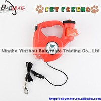 BMP0043 NINGBO BABYMATE 5M Dog Leash Retractable with LED Light and Waste Poop Bag