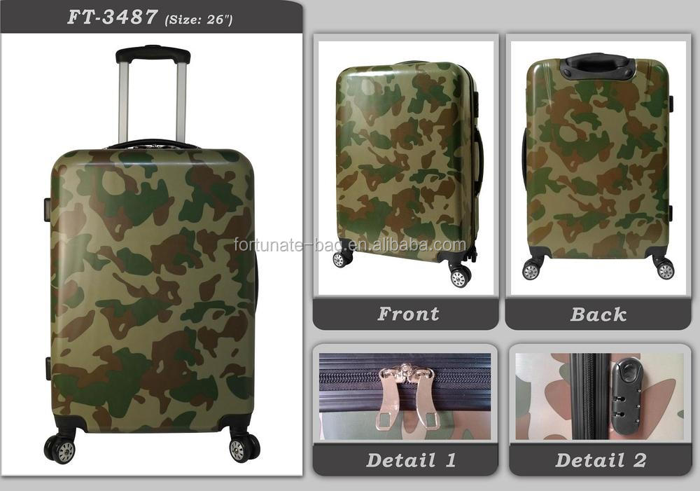 Trendy High quality hot sale item Newest promotional fashion men Travel ABS PC luggage Trolley case camouflage