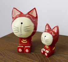 Top 2014 new products popular items for vintage wood cat sculpture from Indonesia wood craft