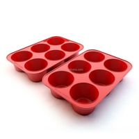 Nonstick 6 Cup Large Silicone Muffin Pan and Cupcake Maker
