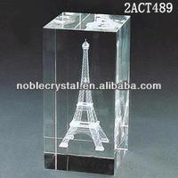 china manufacturer 3D laser crystal eiffel tower awards crystal trophy