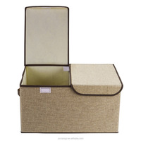 foldable fabric linen material storage boxes with lid
