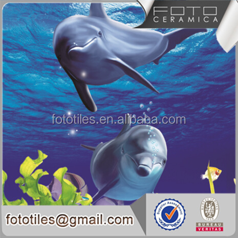 3D porcelain tile with ocean drawings dolphin mural design floor wall tile