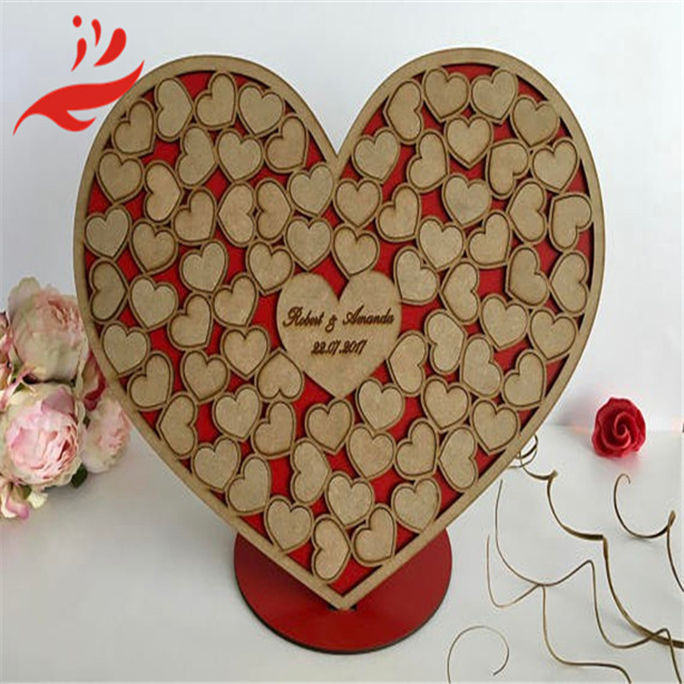 Unique new design laser cut wood heart Guest book for wedding party