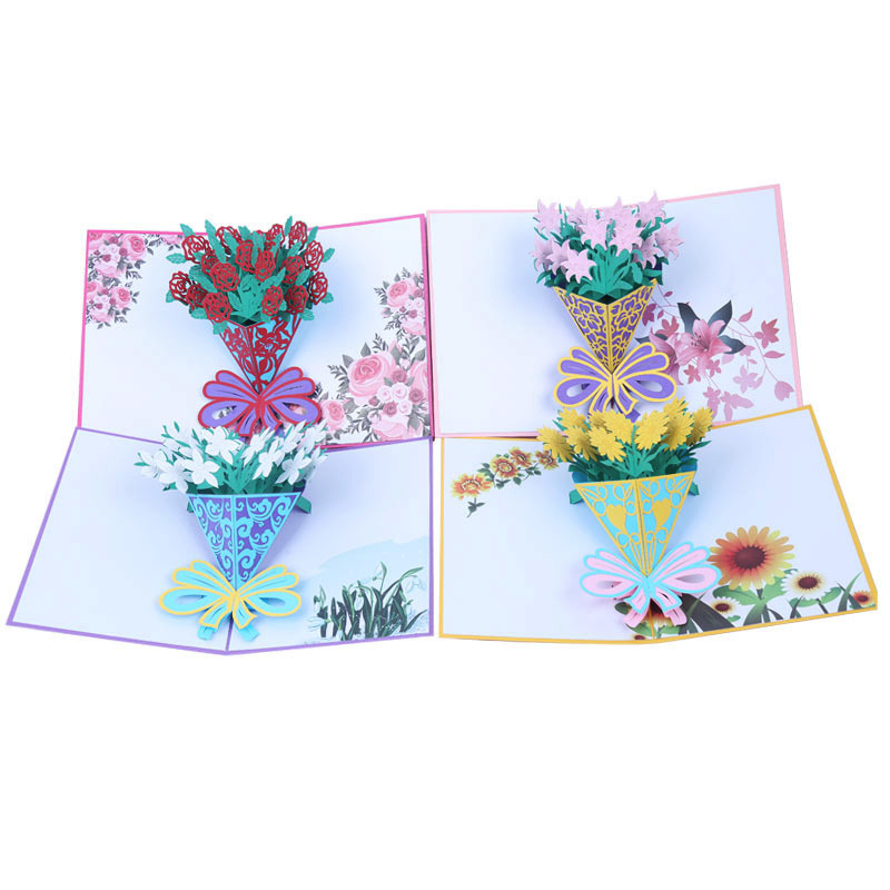 2018 New designs Beautiful lily flowers 3d pop up thanksgiving greeting <strong>card</strong>