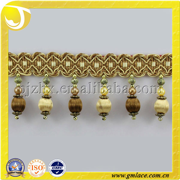 New arrival fashion popular wood curtain trimming tassel beaded corded lace with exquisite wood beads