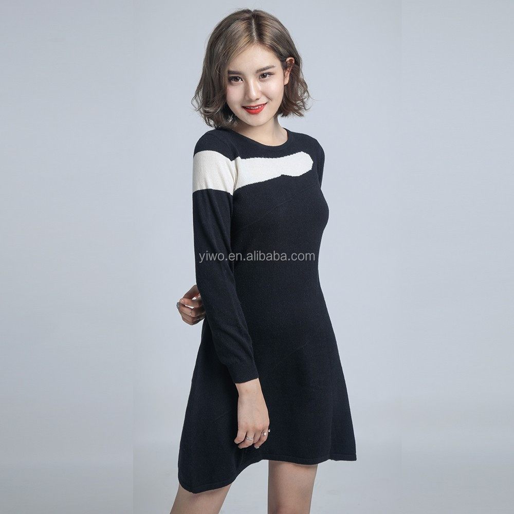 Fancy long pullover women 100% cashmere knitted ruffled dress