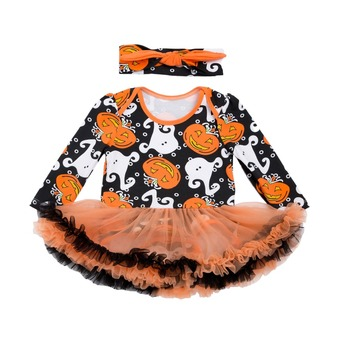 Baby Girl Halloween Costumes Ghost Pumpkin Lace Short Sleeve Romper Tutu Dress Clothing Sets With Hairband
