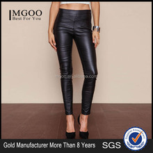 New Arrival 2016 Brand Women Black Leather Pants Zip Up Stretch Boutique Clothing Manufacturer