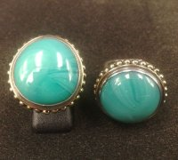 RFMN0052 - Sterling Silver Ring with Turquoise Opaque Glass Gem Marbles