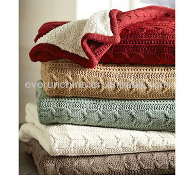 50CZ65 100%Cotton Cable Knit Blanket,With Faux Lambswool Back, 2013 2014 New Design Blanket