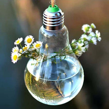 Crystal Glass Light Bulb Shape Plants Flower Vase for flower home furnishing decoration hydroponic