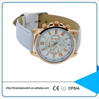 Wholesale Geneva Women's Watches Quartz Leather Band Analog Roman Numerals Watch