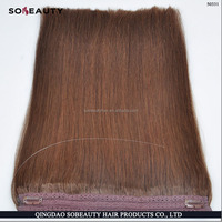 Top quality white blonde halo hair extension, 100% russia natural hair, european blonde hair weft