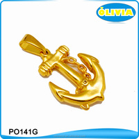 Olivia Simple Mens Gold Plated Anchor Stainless Steel Pendant Gold Tone Ship Anchor Nautical Pendant