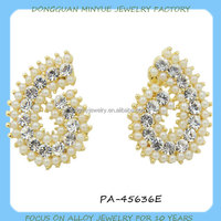 digital number 6 stud earring full rhinstones earring wholesale