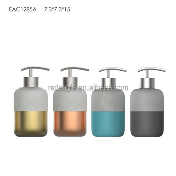 Concrete soap dispenser set tumbler soap dish toilet brush holder