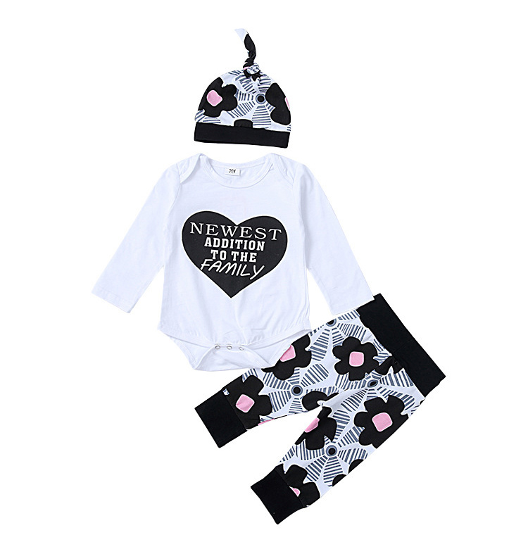 Hot Sale Love Baby Boy Shirt +Pants Three Pcs Set US Size Baby Girl Clothing Set Cotton Spandex Cute
