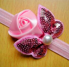 Fashion children hair accessories fabric rose flower and sequins bow baby headband