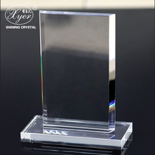 Hot sale blank rectangle crystal trophy/plaque award crystal 3d laser cube custom logo