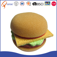 Top quality promotional fessional sponge material dishwashing scrubber hamburger novelty cleaning sponge for chairs