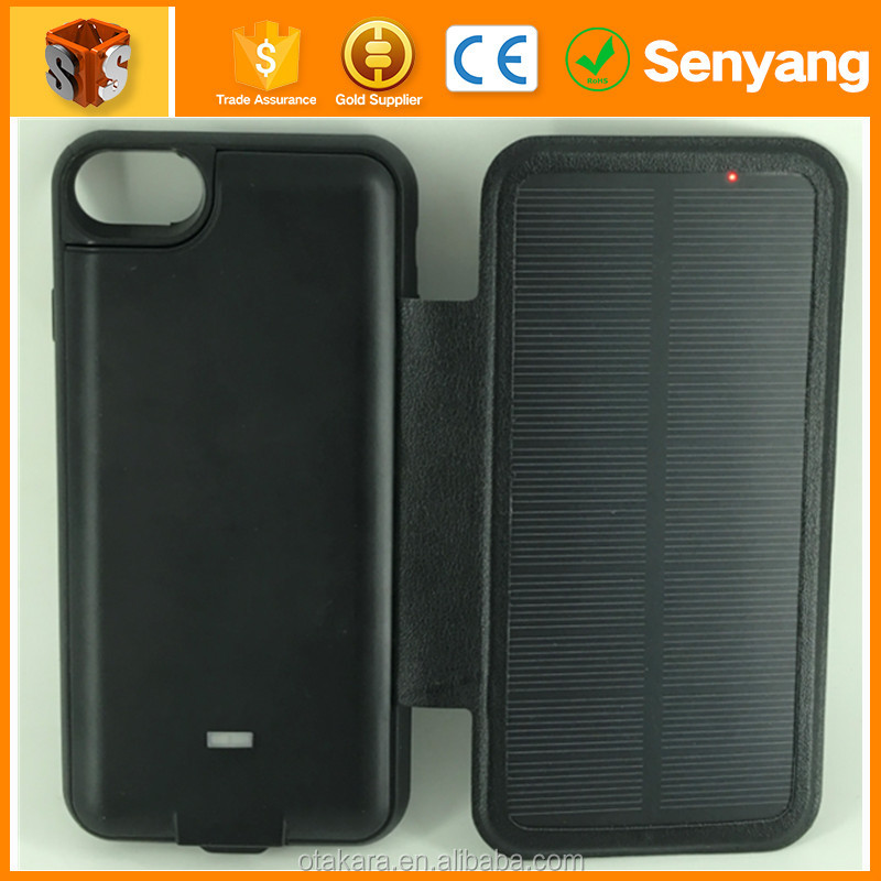 New Products 3000 mAh Black Solar Power External Battery Case for iPhone 7