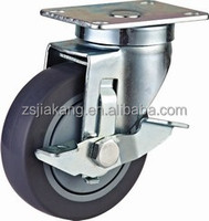 side brake plastic caster with top plate, TPR wheel with ball brearing, non marking, noiseless