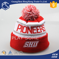 Double polyester beanie with 3D embroidery and Pom pom knitted winter hats