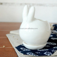 Cute indoor small white rabbit animal ceramic planter