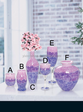 Crackle Temper Purple Mosaic Wholesale Wine Glass Vases & Mosaic Candle Holder for Decor