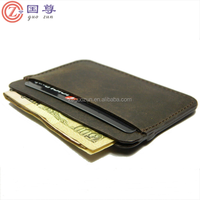 Slim brown real leather credit card holder mini small thin wallet ID case