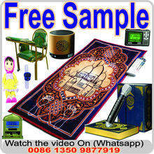 PORTABLE ISLAMIC PRAYER Mat/RUG/WITH COMPASS QIBLA FINDER + BOOKLET/ Weighted Ends